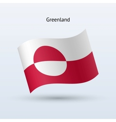 Greenland flag waving form vector