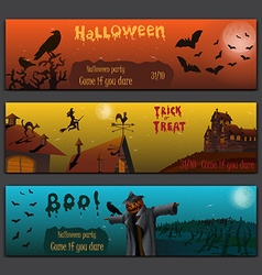 Halloween cards baners design set with pumpkin vector image