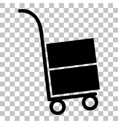 Hand truck sign Flat style black icon on vector image