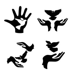 Hands with pigeon icons set vector