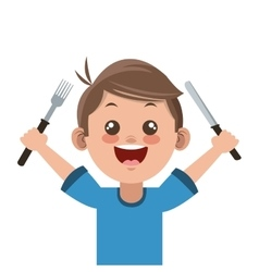 happy boy cartoon holding fork and knife icon vector image