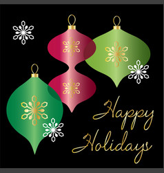 happy holidays graphic with overlapping ornaments vector image