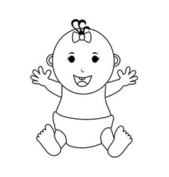 Happy smiling female baby icon image vector
