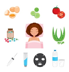 Health Skin Face And Body Icons Set vector