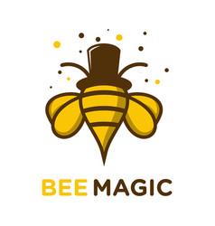 honey bee hat magic logo vector image