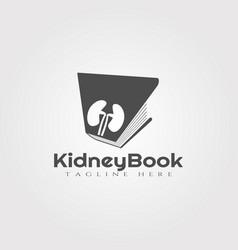 Kidney book logo designhealthcare and medical icon vector