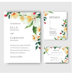 Lilly rose magnolia flowers watercolor bouquets vector