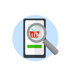 magnifier over a smartphone search for goods on vector image