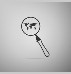 magnifying glass with world map icon isolated vector image