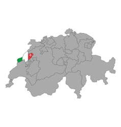 Map of Switzerland with flag of Neuchatel vector image