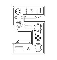 Mechanical number 5 engraving vector