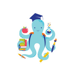 octopus with a lot of educational icons elements vector image