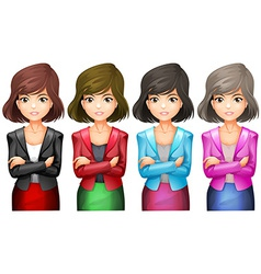 Office girls in different uniforms vector