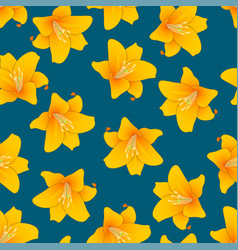Orange lily on indigo blue background vector
