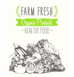 organic farm food poster healthy sticker drawn vector image