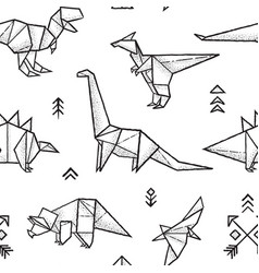 Origami dinosaurs seamless pattern in black and vector