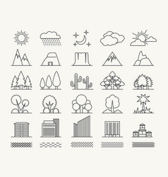 outlines landscape elements set vector image