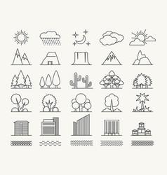 outlines landscape elements set vector image