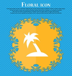 Palm tree travel trip floral flat design on a vector
