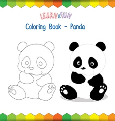Panda coloring book educational game vector