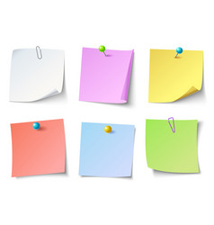 Paper notes top view note sticker set vector