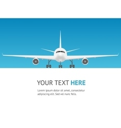 Passenger airplane card jet front view vector