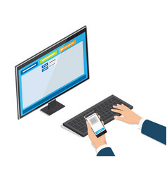 payment through online banking website on monitor vector image