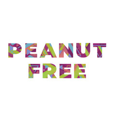 Peanut free concept retro colorful word art vector