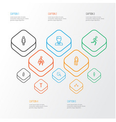 People outline icons set collection of woman vector