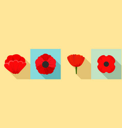 poppy flowers icon set flat style vector image