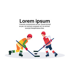 professional ice hockey players holding stick vector image