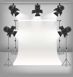 realistic detailed 3d photo studio and equipments vector image