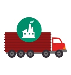 Red cargo truck vector