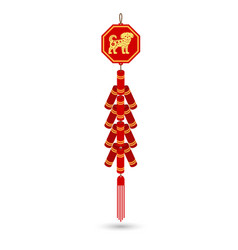 Red chinese firecracker flat icon vector