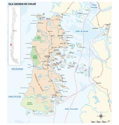 road map chilean island chiloe chile vector image