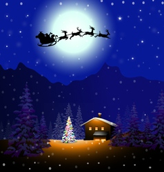 Santa sleigh in Christmas Night vector image