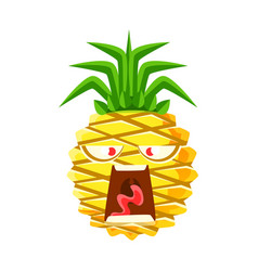 screaming pineapple emoticon cute cartoon emoji vector image vector image