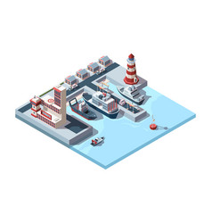 seaport isometric industrial logistics vector image