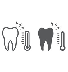 Sensetive tooth line and glyph icon stomatology vector