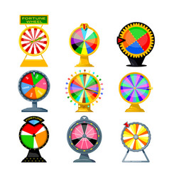 set cartoon fortune wheels equipment vector image