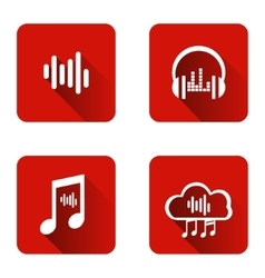 Set icons for music streaming service vector