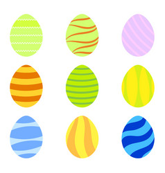 set of colorful easter eggs with simple vector image