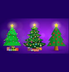 set of cute cartoon christmas fir trees on purple vector image