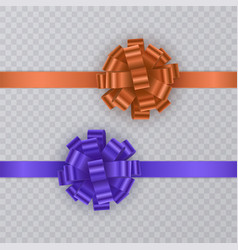 set of gift ribbons with realistic bow of blue and vector image vector image