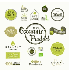 set organic food labels and design elements vector image