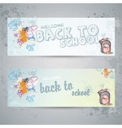 Set with two horizontal banners with school vector image
