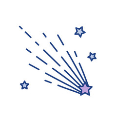 Shooting star line color icon vector