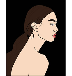 silhouette of beautiful woman vector image