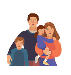 Smiling family portrait mother father vector