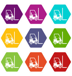 Stacker loader icon set color hexahedron vector